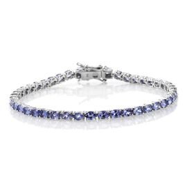 9K White Gold 7 Carat Tanzanite Oval Tennis Bracelet Size 7.