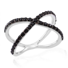 Boi Ploi Black Spinel (Rnd) Criss Cross Ring in Rhodium Plated Sterling Silver 1.250 Ct.