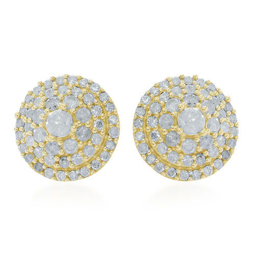 9K Y Gold SGL Certified Diamond (Rnd) (I3/ G-H) Stud Earrings (with Push Back) 1.000 Ct.