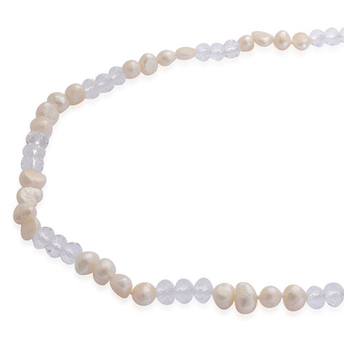 Fresh Water White Pearl and White Glass Necklace (Size 46)