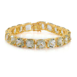 Green Amethyst (Cush) Bracelet (Size 7.5) in 14K Gold Overlay Sterling Silver 65.000 Ct.