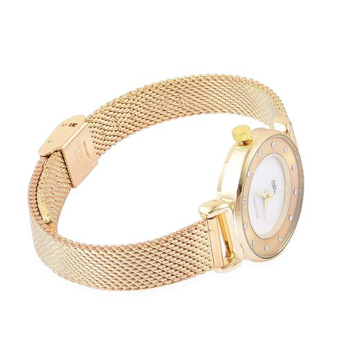STRADA Genuine Mother of Pearl Japanese Movement Watch - Gold Tone