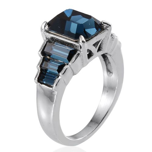 Crystal from Swarovski - Montana Crystal (Oct 3.00 Ct) Ring in ION Plated Stainless Steel 4.300 Ct.