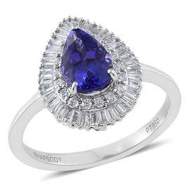 RHAPSODY 950 Platinum 1.67 Ct AAAA Tanzanite Pear Halo Ring with Diamond SI G-H