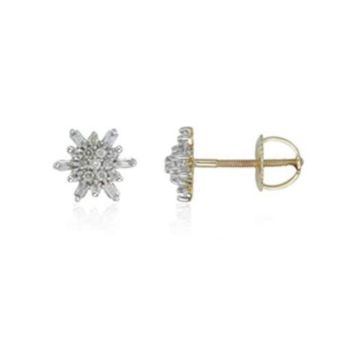 9K Y Gold Diamond (Rnd) Stud Earrings (with Screw Back) 0.250 Ct.