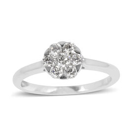 ILIANA 18K W Gold 7 Stone 0.50Ct. Diamond Cluster Ring, IGI Certified (SI/ F-G)