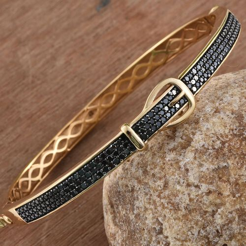 Limited Edition, Designer Inspired, Black Diamond (Rnd) Buckle Bangle (Size 7.5) in 14K Gold Overlay Sterling Silver 1.000 Ct.