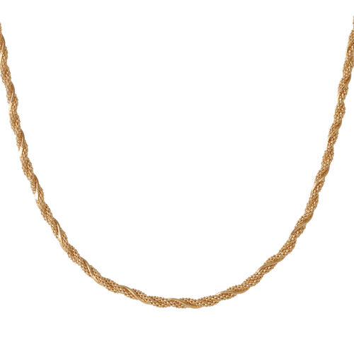 Vicenza Collection 14K Gold Overlay Sterling Silver Twined Necklace (Size 18), Silver wt. 10.24 Gms.