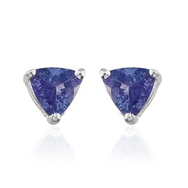 Tanzanite (Trl) Stud Earrings (with Push Back) in Sterling Silver 0.500 Ct.