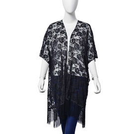 Floral Lace Pattern Black Colour Kimono - Jacket with Fringes (Free Size)