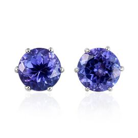 9K W Gold Tanzanite (Rnd) Stud Earrings (with Push Back) 2.250 Ct.