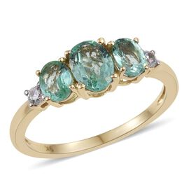 9K Yellow Gold 1.50 Carat Boyaca Colombian Emerald Oval Trilogy Ring with Natural Cambodian Zircon.