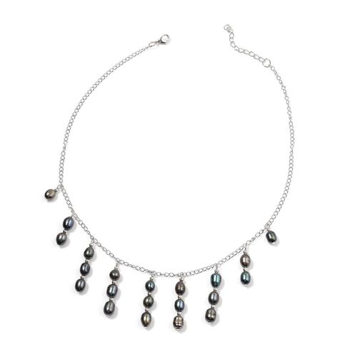 Fresh Water Peacock Pearl Necklace (Size 18) in Stainless Steel