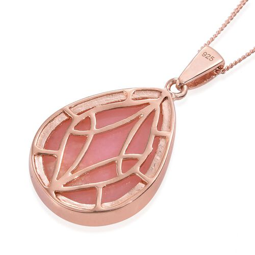 Natural Peruvian Pink Opal (Pear) Pendant With Chain in Rose Gold Overlay Sterling Silver 11.000 Ct.