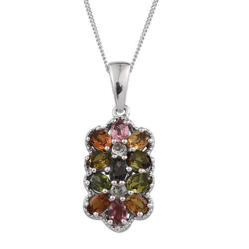 Rainbow Tourmaline (Ovl) Pendant With Chain in Platinum Overlay Sterling Silver 1.750 Ct.