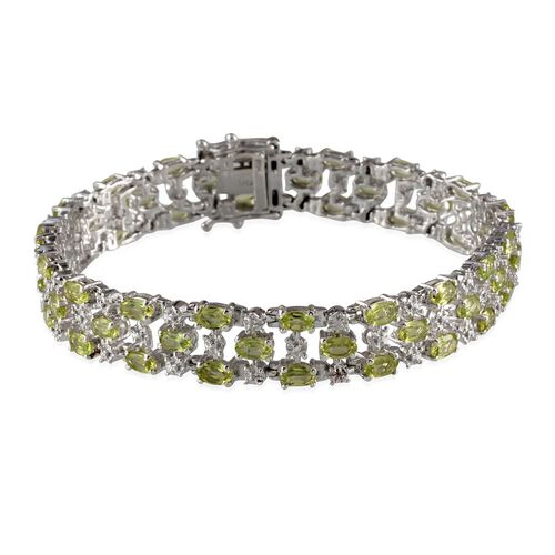 AA Hebei Peridot (Ovl), Diamond Bracelet in Platinum Overlay Sterling Silver (Size 8) 11.770 Ct.