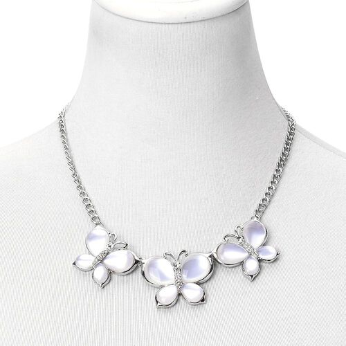 Designer Inspired -  White Austrian Crystal Triple Butterfly Necklace (Size 20 with 2 inch Extender) in Silver Tone