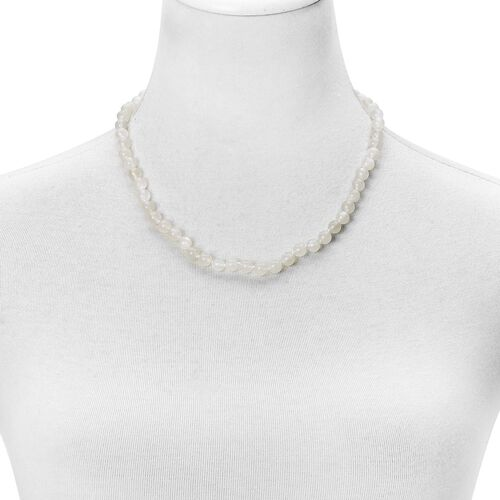 White Moonstone Ball Beads Necklace (Size 20) with Magnetic Clasp in Rhodium Plated Sterling Silver 145.500 Ct.