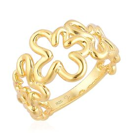 LucyQ Open Splat Ring in Yellow Gold Overlay Sterling Silver 4.34 Gms.