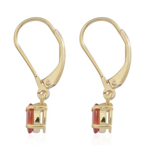 Orange Sapphire (Ovl) Lever Back Earrings in 14K Gold Overlay Sterling Silver 1.250 Ct.