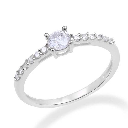 9K White Gold GSI Certified Diamond (Rnd) (I3/G-H) Ring 0.500 Ct.
