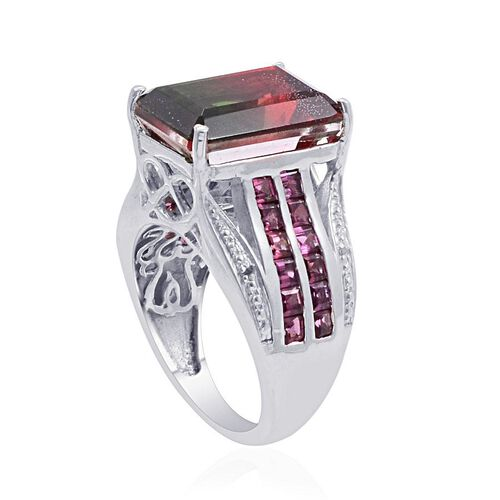 Tourmaline Colour Quartz (Oct 7.75 Ct), Rhodolite Garnet and Diamond Ring in Platinum Overlay Sterling Silver 9.520 Ct.