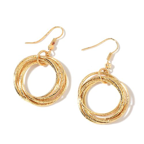 Circle Pendant with Chain (Size 28) and Hook Earrings in Yellow Gold Tone