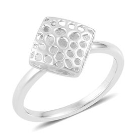 RACHEL GALLEY Rhodium Plated Sterling Silver Memento Diamond Ring, Silver wt 3.20 Gms.