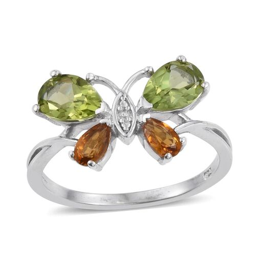 Hebei Peridot (Pear), Citrine Butterfly Ring in Platinum Overlay Sterling Silver 2.000 Ct.