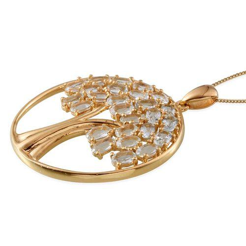 Espirito Santo Aquamarine (Ovl) Tree Pendant With Chain in 14K Gold Overlay Sterling Silver 4.750 Ct.