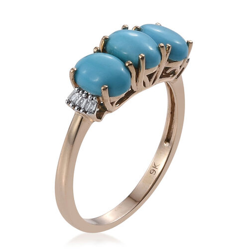 9K Y Gold Arizona Sleeping Beauty Turquoise (Ovl 2.45 Ct), Diamond Ring 2.500 Ct.