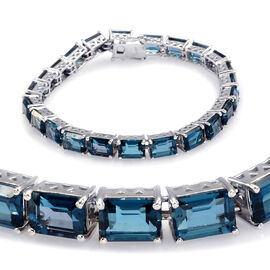 London Blue Topaz (Oct) Bracelet in Rhodium Plated Sterling Silver (Size 7) 26.000 Ct.