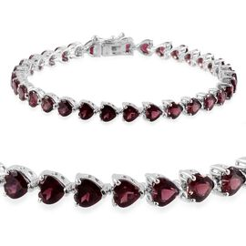 Rhodolite Garnet (Hrt) Bracelet in Platinum Overlay Sterling Silver (Size 7.5) 17.000 Ct.