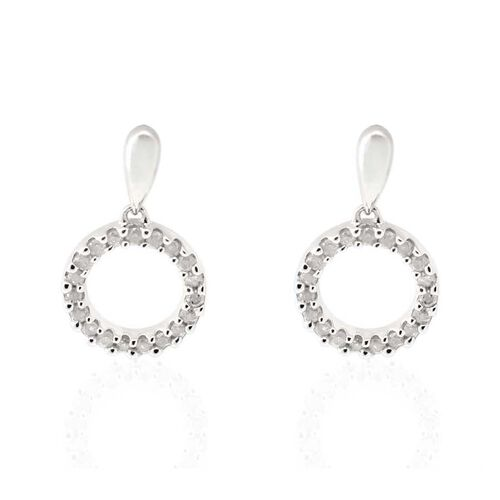 9K White Gold SGL Certified Diamond (Rnd) (I3/ G-H) Circle Earrings (with Push Back) 0.250 Ct.