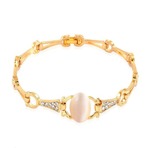 Simulated White Cats Eye and White Austrian Crystal Bracelet (Size 7.5) in Yellow Gold Tone
