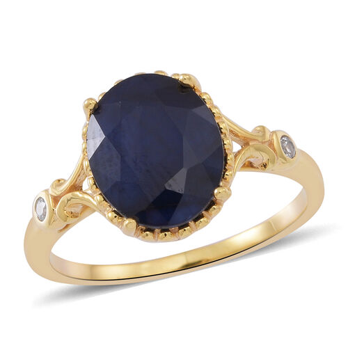 Blue Sapphire (Ovl 4.42 Ct), Natural Cambodian White Zircon Ring in 14K Gold Overlay Sterling Silver 4.500 Ct.