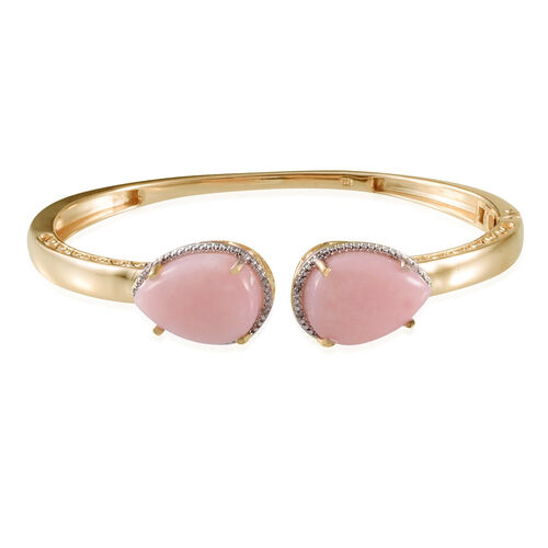 Peruvian Pink Opal (Pear), Diamond Bangle (Size 7.5) in Yellow Gold Overlay Sterling Silver 13.050 Ct.