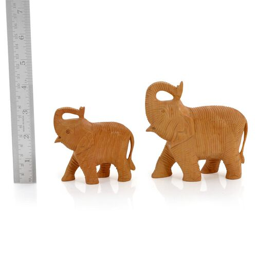Home Decor - Set of 2 Handmade Wooden Carved Upper Trunk Light Elephant