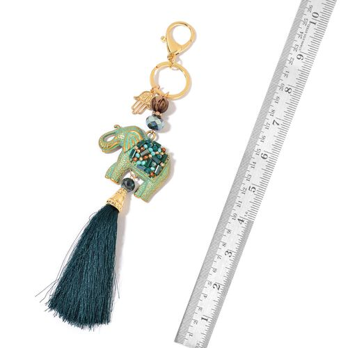 Set of 2 - Green Agate, White Austrian Crystal and Multi Colour Beads Elephant with Tassel Key Chains in Yellow Gold Tone