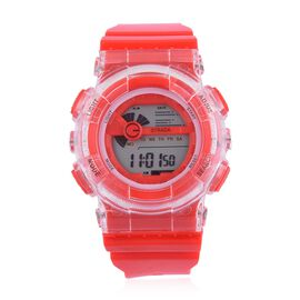 STRADA Electronic Movement 7 Colour Flashing LED Red Colour Watch with Stainless Steel Back and Red Silicone Strap
