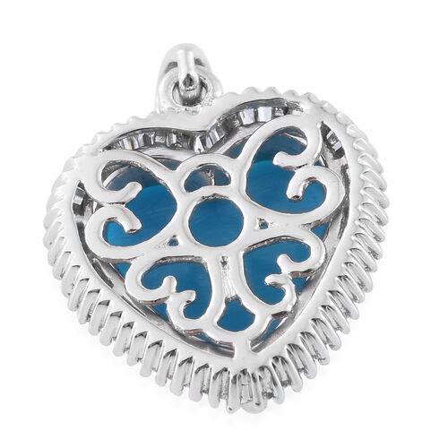 ILIANA 18K White Gold 3.33 Ct AAAA Arizona Sleeping Beauty Turquoise Halo Heart Pendant with Diamond SI G-H