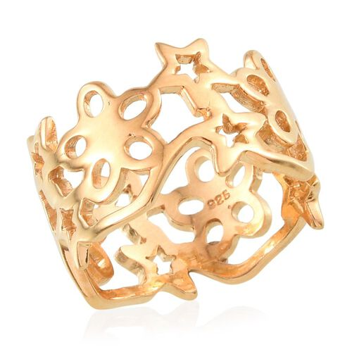 14K Gold Overlay Sterling Silver Star and Floral Band Ring, Silver wt 5.10 Gms.