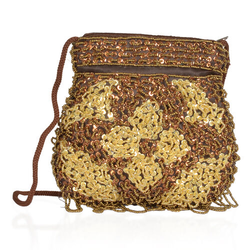 Yellow and Brown Colour Fortune Cookie Bag Made with Brocade and Sequin Work (Size 6x5 inch)