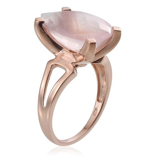 Checkerboard Cut Rose Quartz (Pear) Solitaire Ring in Rose Gold Overlay Sterling Silver 9.750 Ct.