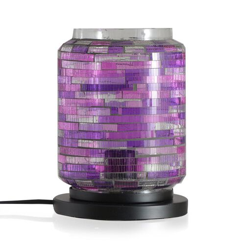 (Option 2) Home Decor - Handicraft Mosaic Glass Lamp in Two Tone Purple