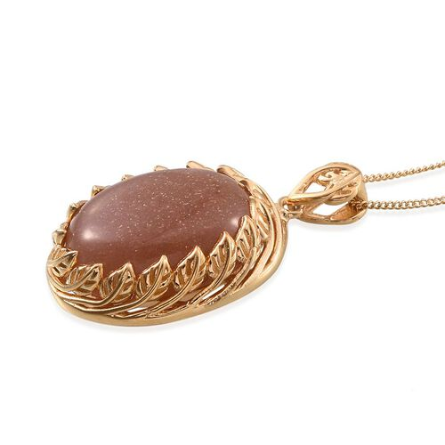 Morogoro Peach Sunstone (Ovl) Pendant With Chain in 14K Gold Overlay Sterling Silver 16.750 Ct.