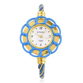 Designer Inspired STRADA Blue Enamelled Floral Bangle Watch in Gold Tone with Gift Packing Box