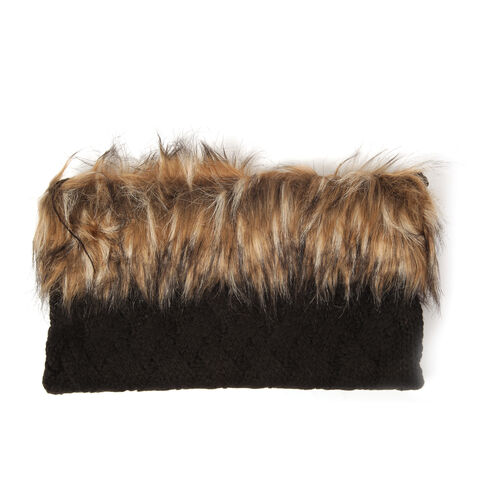 Acrylic Black Colour Neck Scarf with Fur Collar (Free Size)