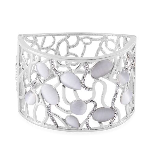 Simulated White Cats Eye and White Austrian Crystal Bangle (Size 7.5) in Silver Tone