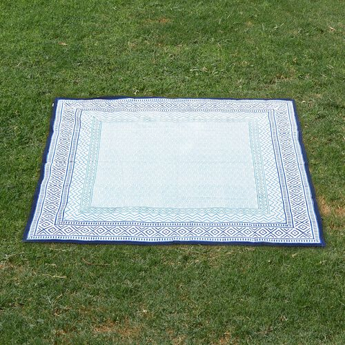 100% Cotton Blue and White Colour Hand Block Printed Table Cloth (Size 150x150 Cm)
